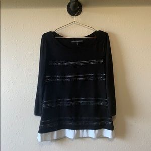 White House Black Market Crochet Trim Top Sz L